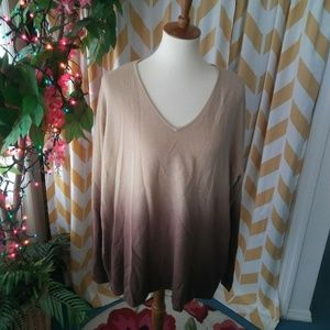 Venezia Woman Plus Size 22/24 Brown Ombre sweater